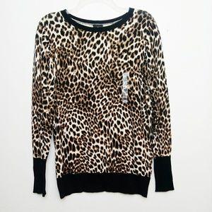 Worthington Leopard Cheetah Animal Print Sweater L